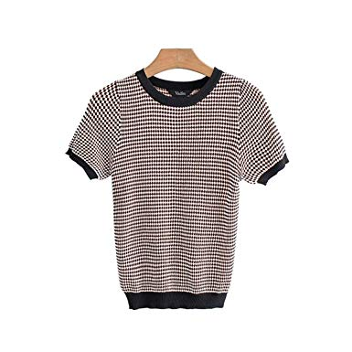 Plaid, knit shirt -