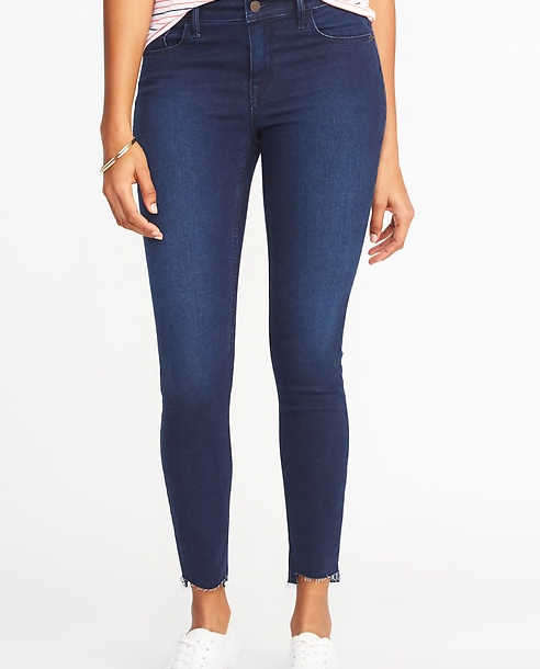 Frayed blue jeans -