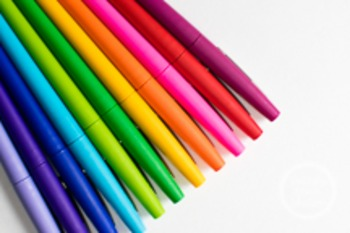 Pens in every color - …AND she keeps it colorful.