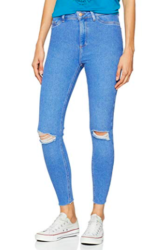 5. Pale jeans, slightly ripped -