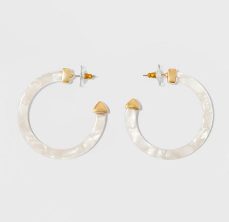 9. White hoop earrings -