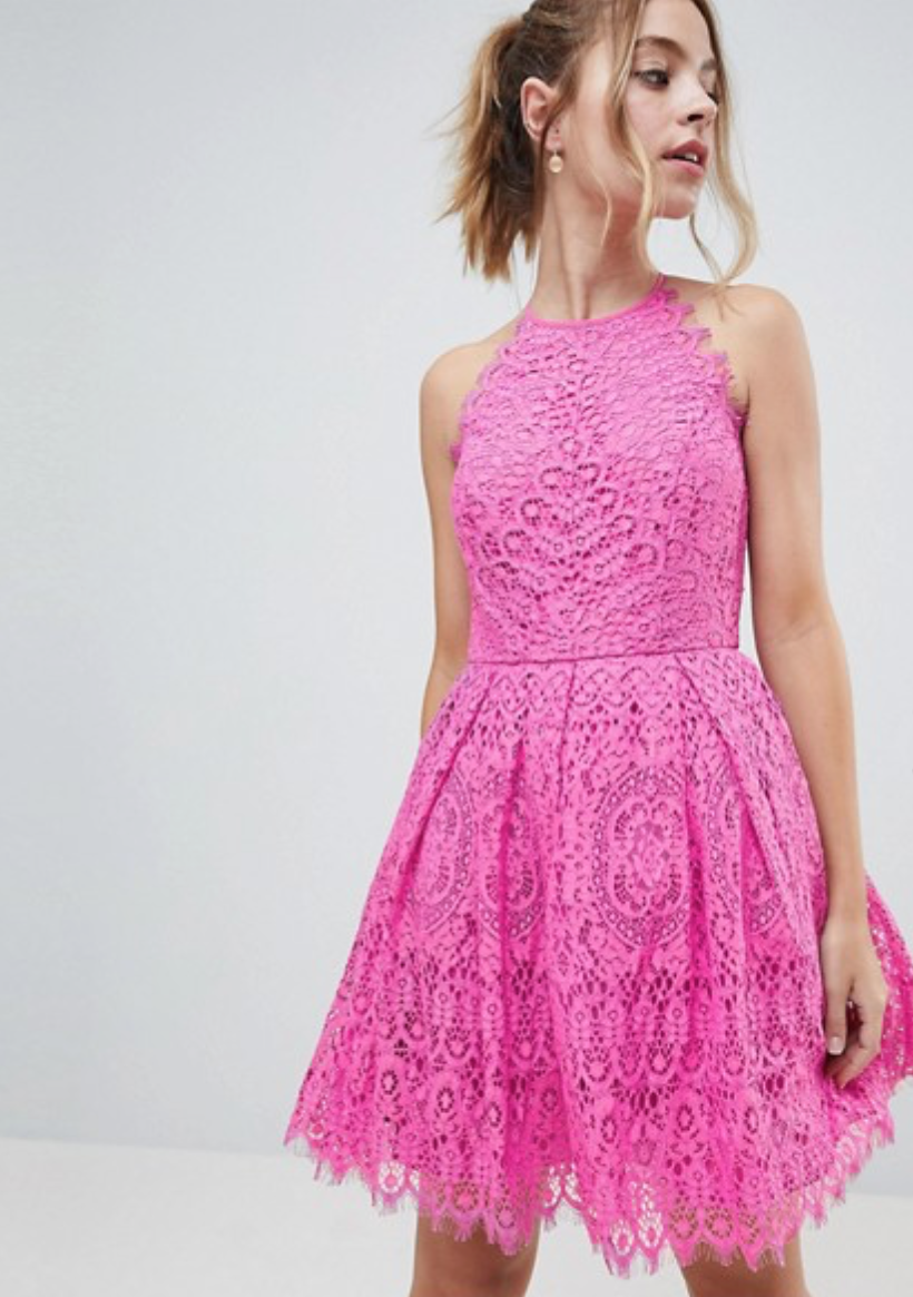 Pretty In Pink - You're a modern gal, why not dress like it in hot pink lace?