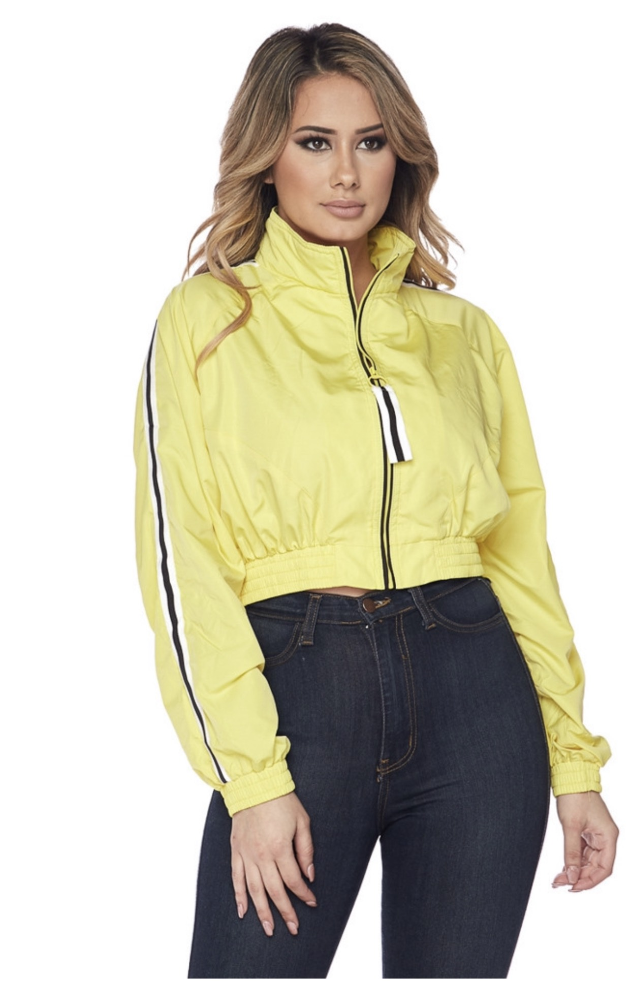 Jacket- Side Striped Cropped Windbreaker-Yellow -