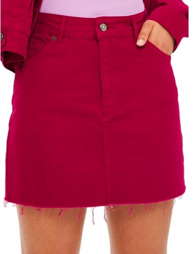 Fuchsia denim skirt -