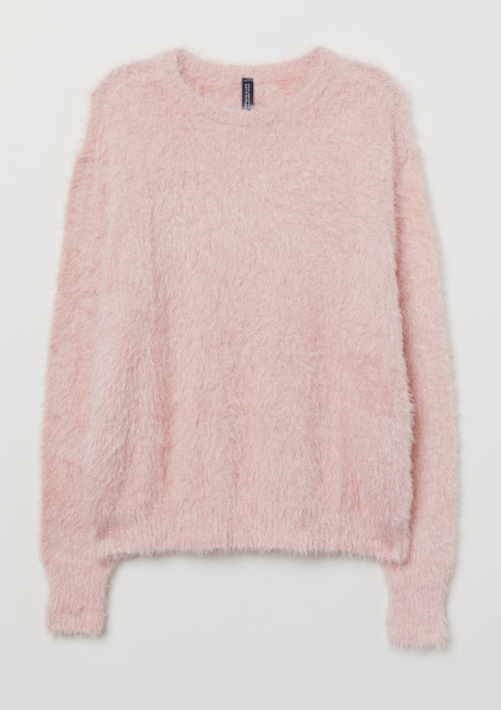 Fluffy pink sweater -