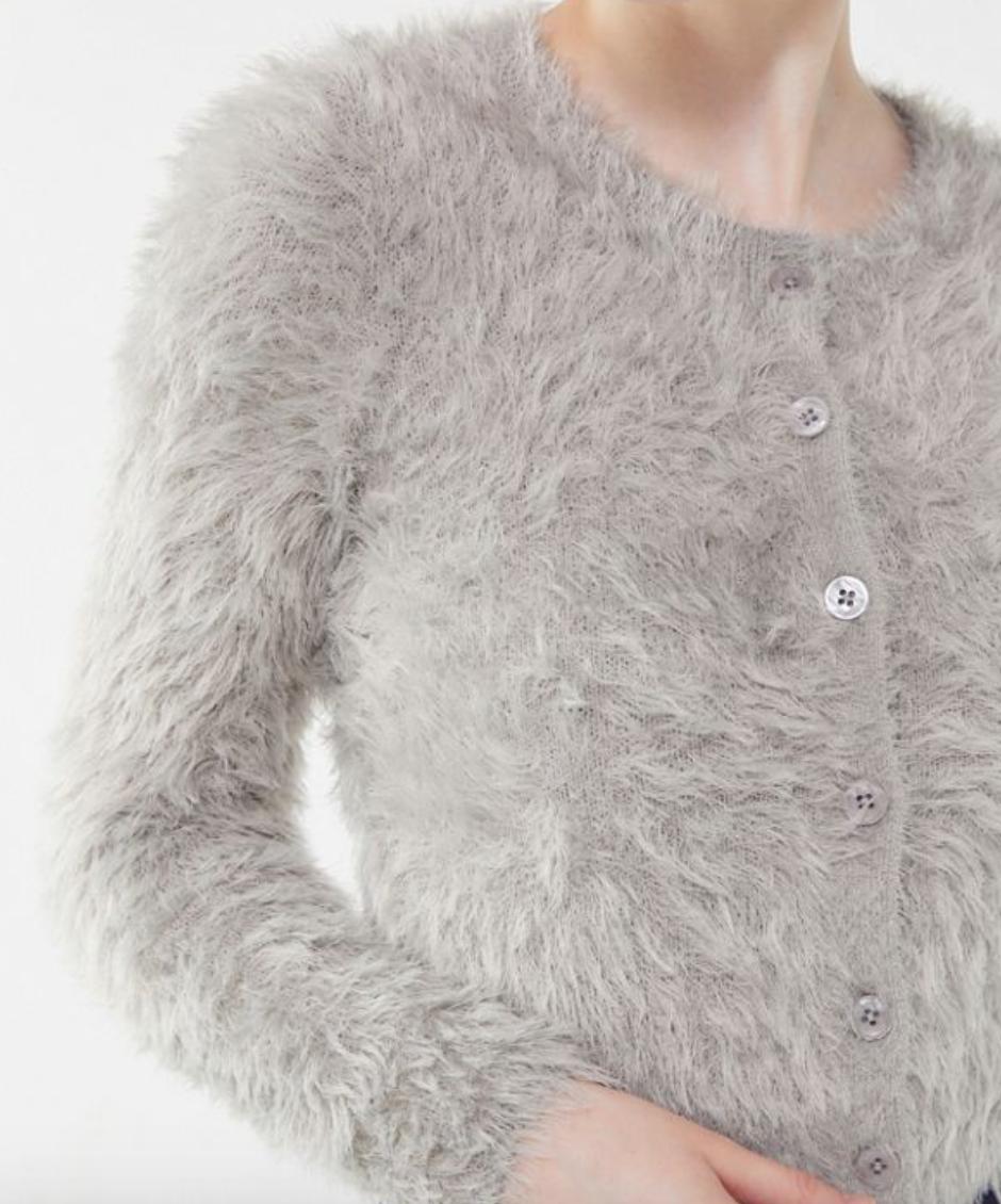 Gray fuzzy cardigan -