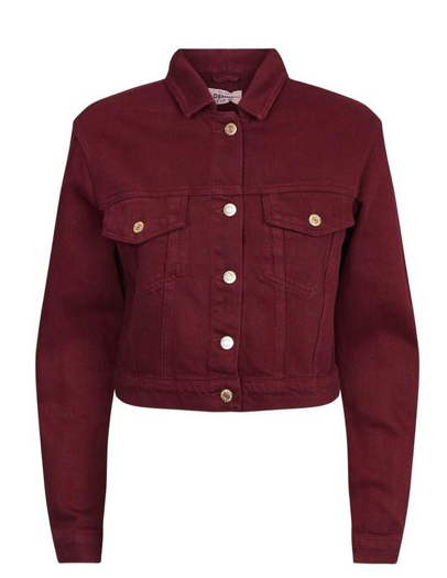 Burgundy denim jacket -