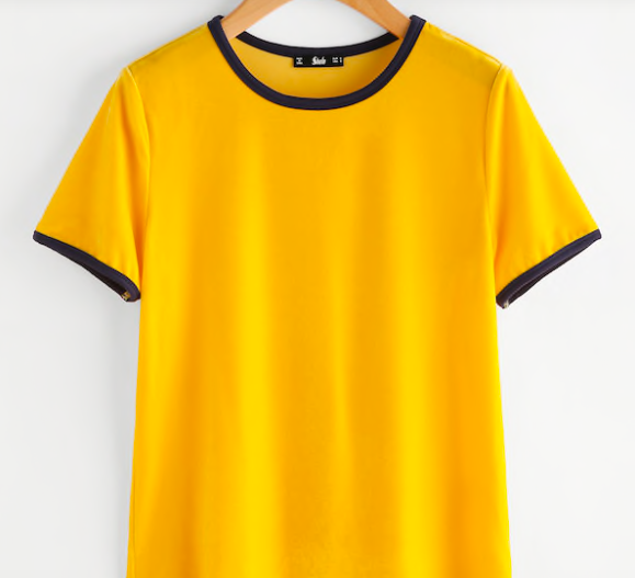 Yellow ringer tee -