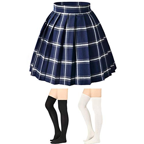 Blue plaid skirt -