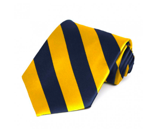 Blue and yellow striped tie -
