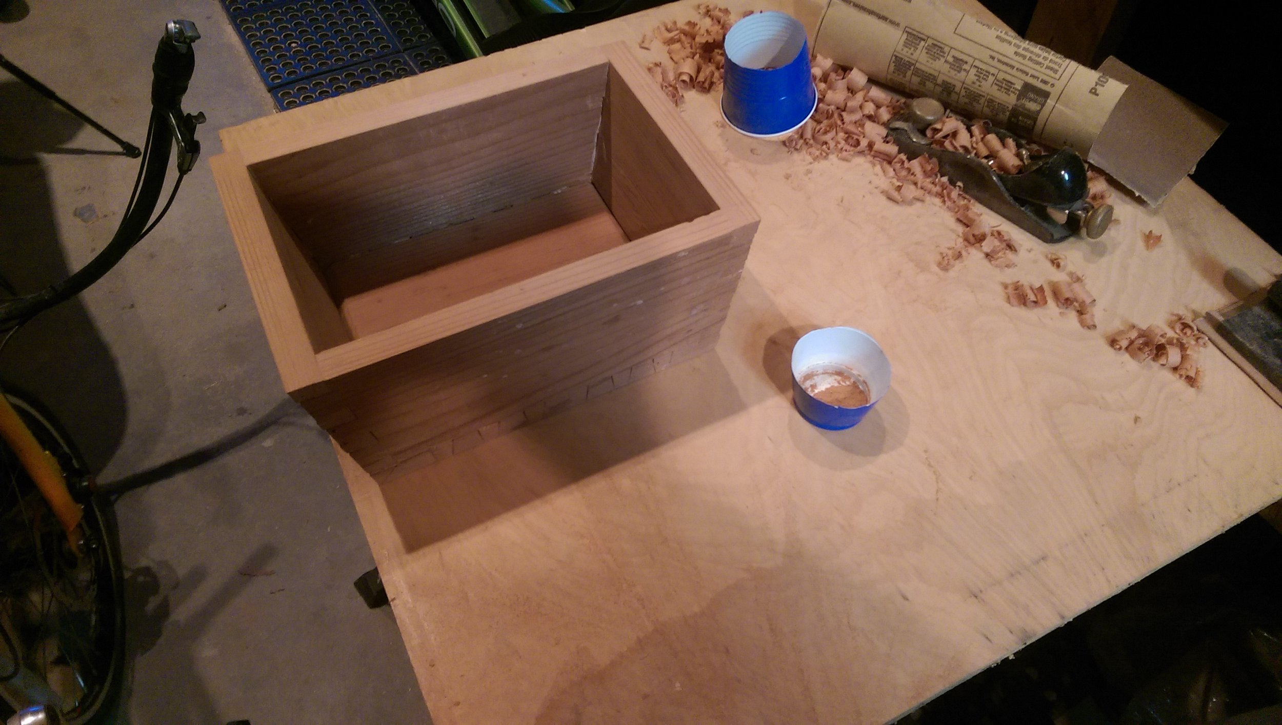 Once the box was glued, I sanded the top flat with a belt-sander.
