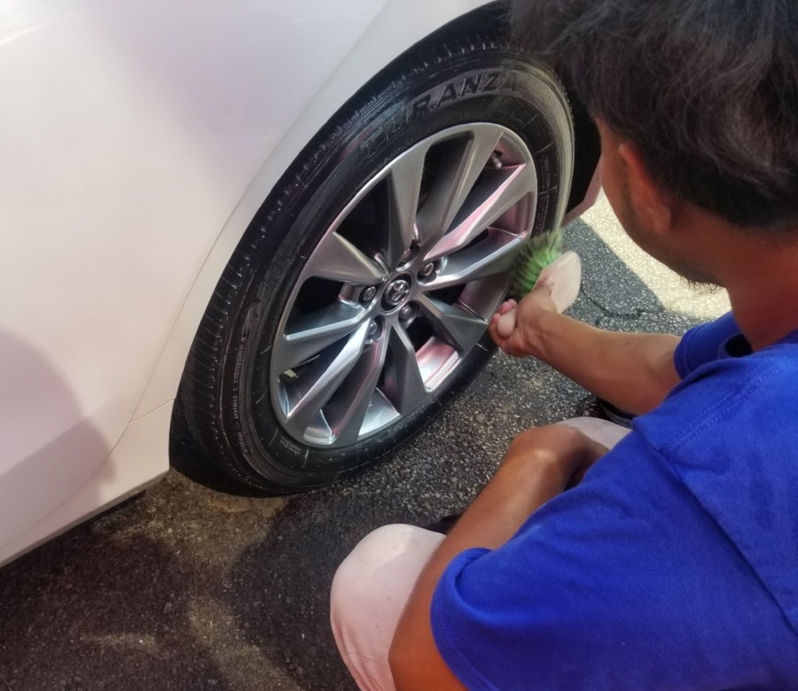 Hand Applied Tire Shine and Wheel Cleaning
