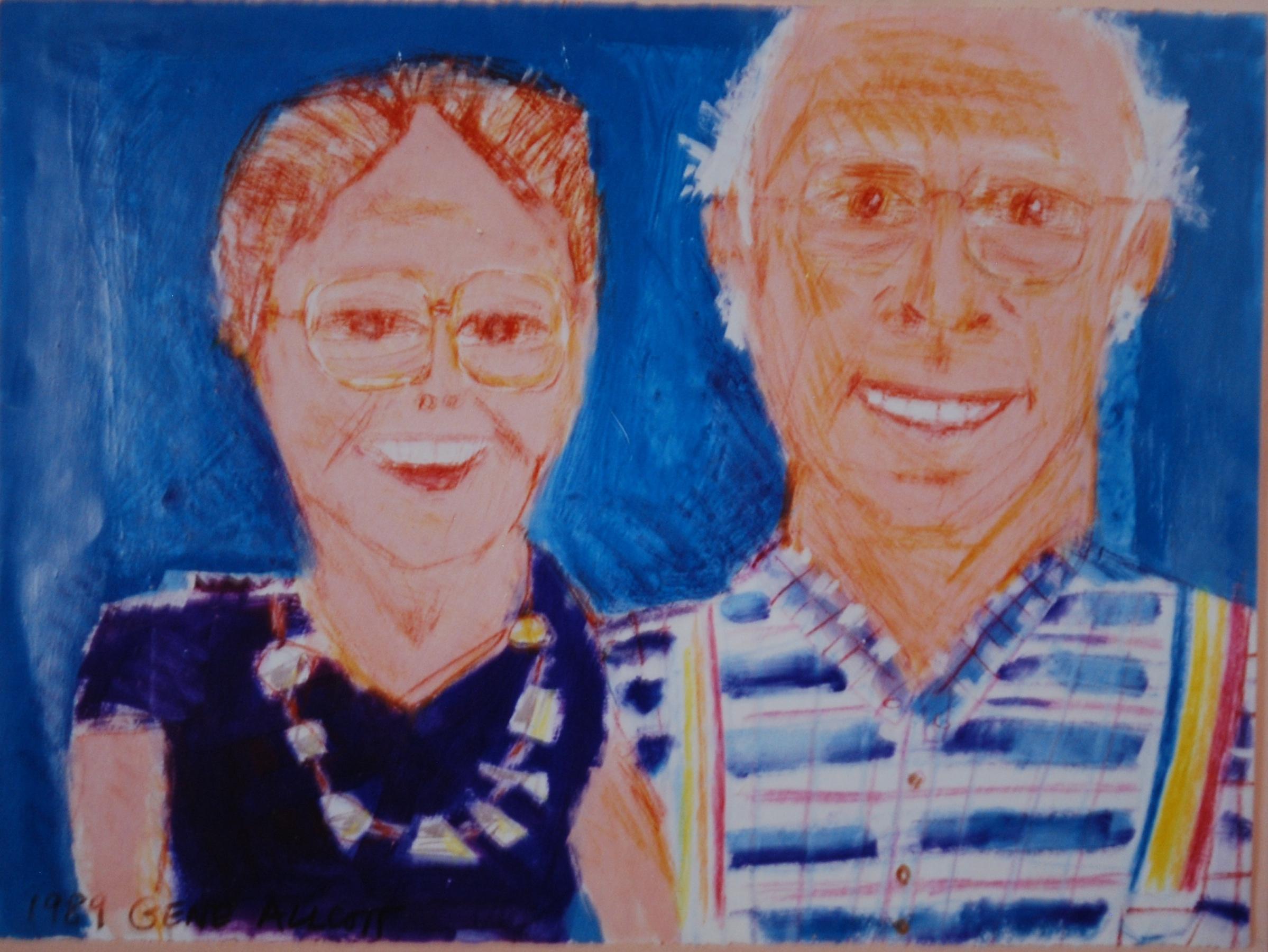 Gene Allcott Art Gallery - Portrait of the Artist's Parents1989, Acrylic on Paper