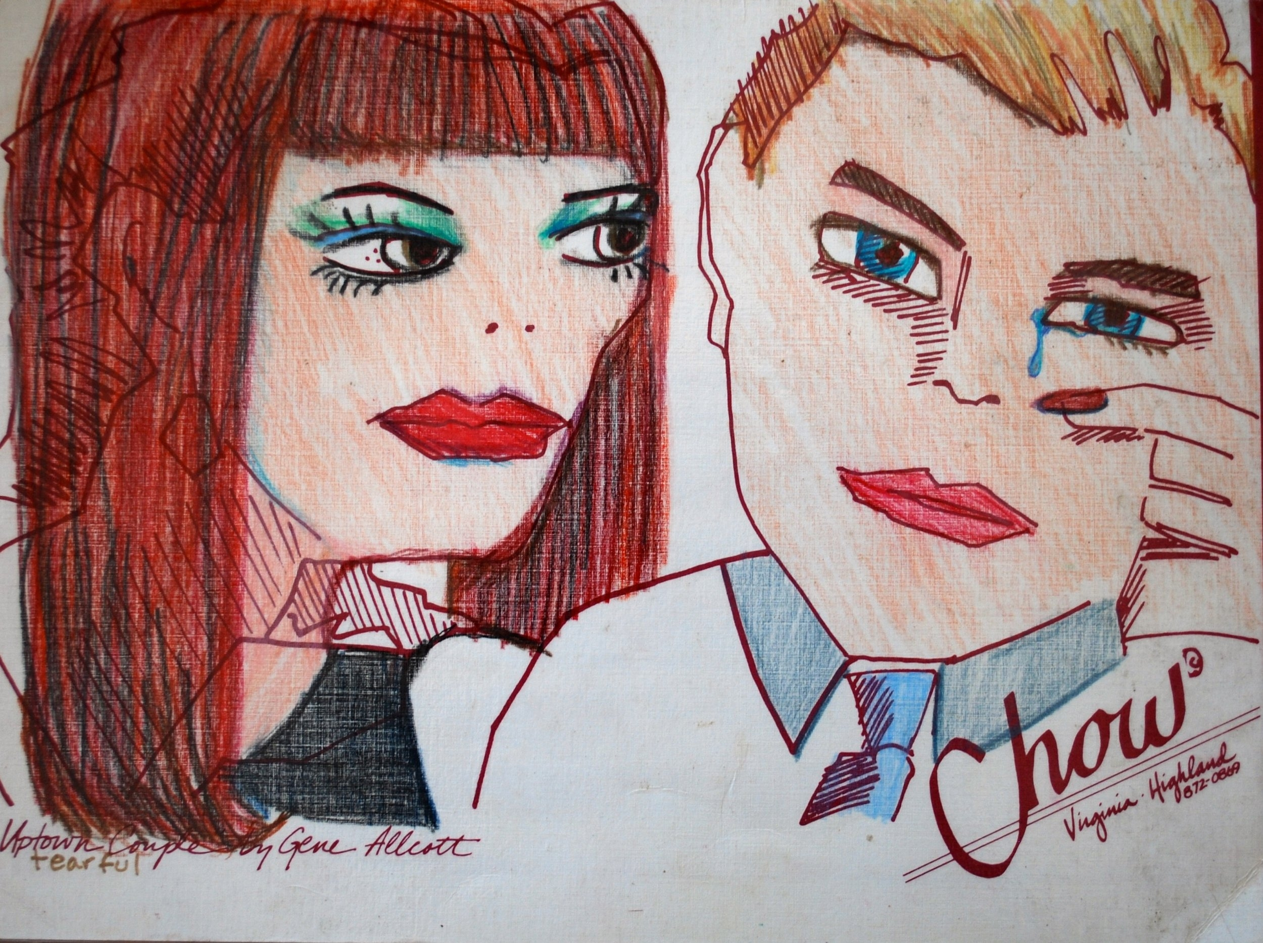 Uptown Couple, a menu hand colored by Gene for Chow's Restaurant