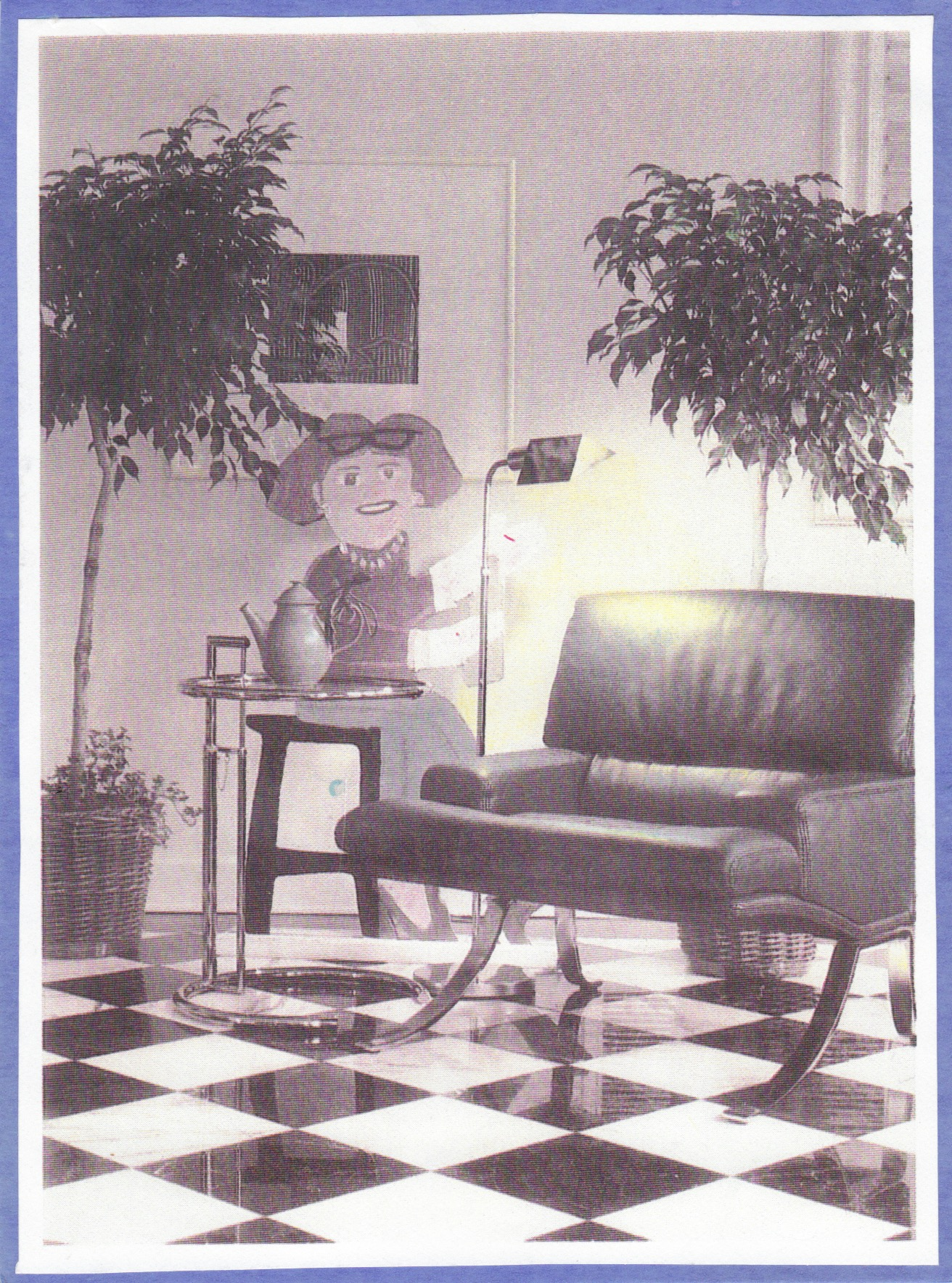 """Light Play: The Evelyn Myers Home , Southern Homes, 1989: """"A cut-out board painting of Evelyn Myers by Atlanta artist Gene Allcott appears ready to serve tea in the breakfast room."""""""
