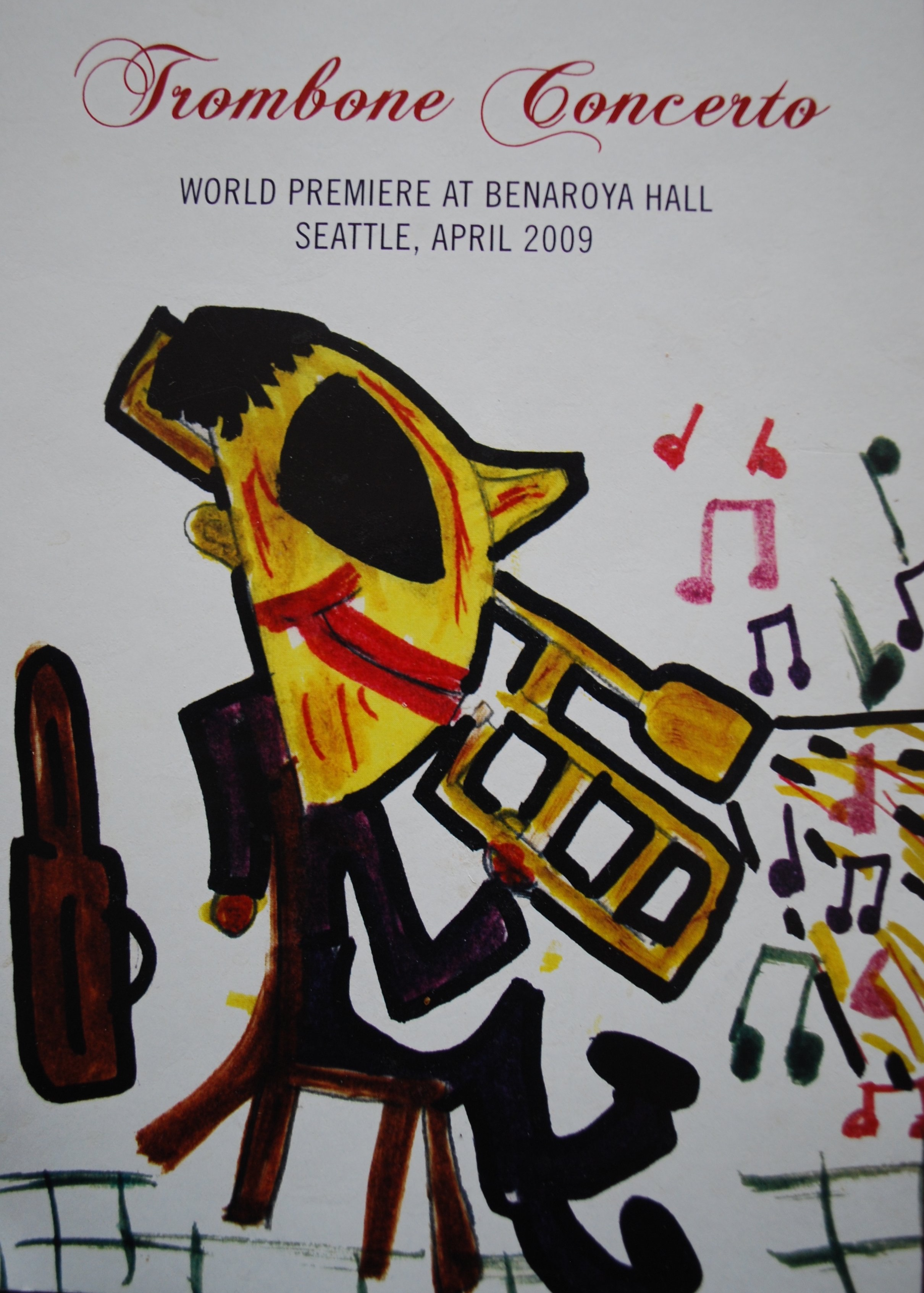Trombone Concerto , World Premiere at Benaroya Hall, Seattle, April 2009: Gene Allcott was an artist of national renown specializing in posters for the Olympic Games. This sketch, showing his older brother John, was drawn when Gene was in the fifth grade.