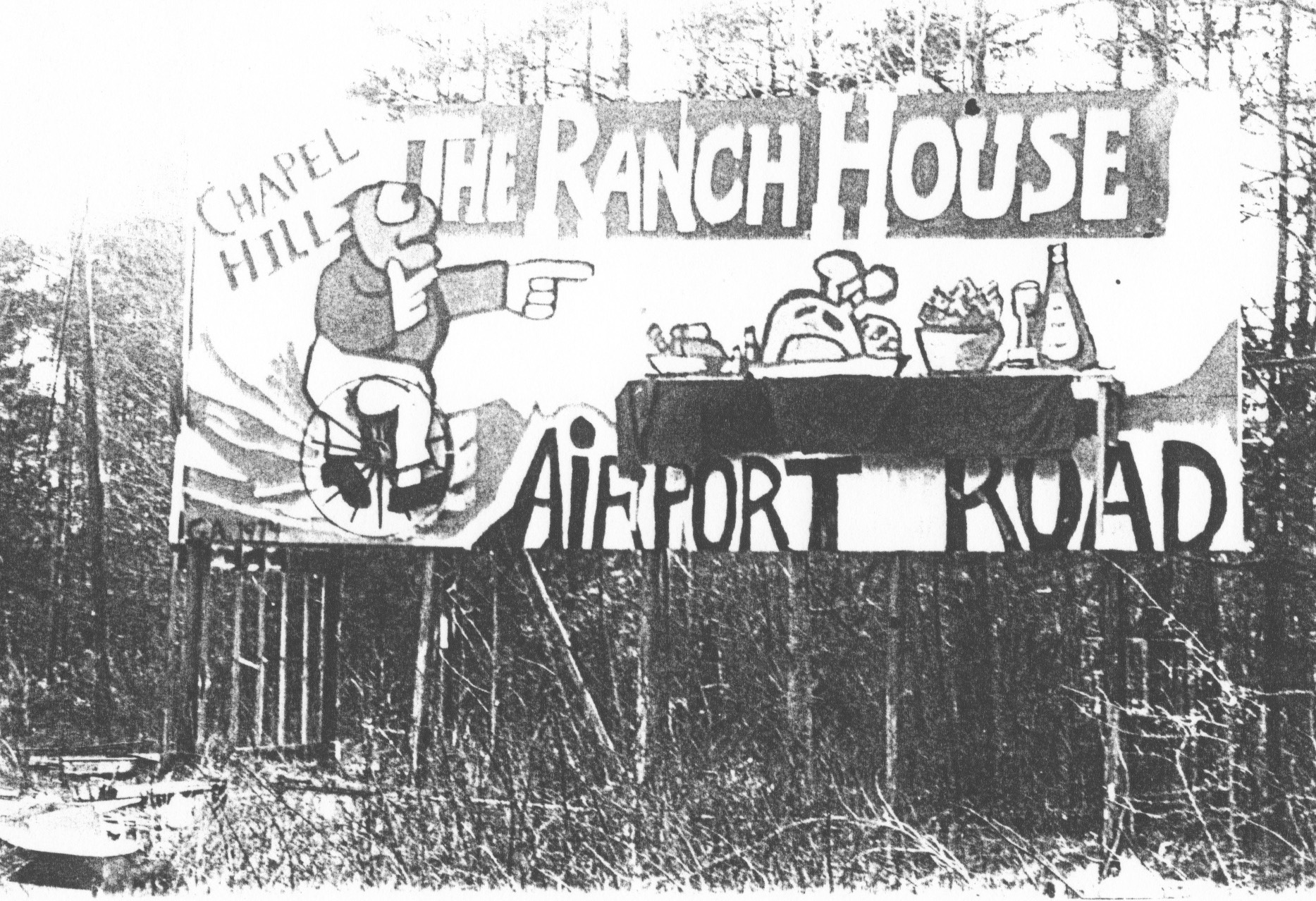 The Ranch House Restaurant Billboard   , US 15-501 Bypass , Chapel Hill, NC — painted when Gene was 18.