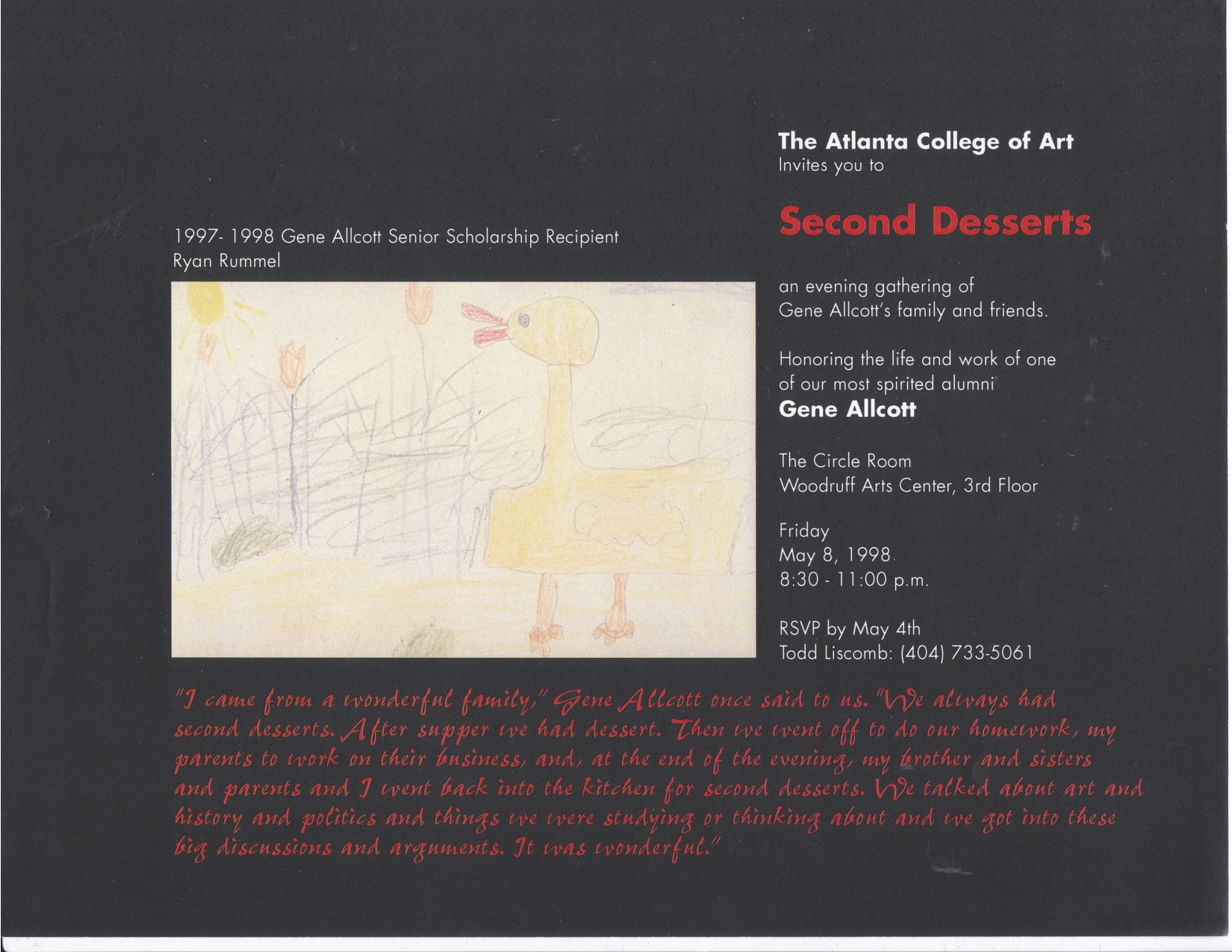 1998 Atlanta College of Art Second Desserts Event. Illustration by Allcott Scholar Ryan Rummel.