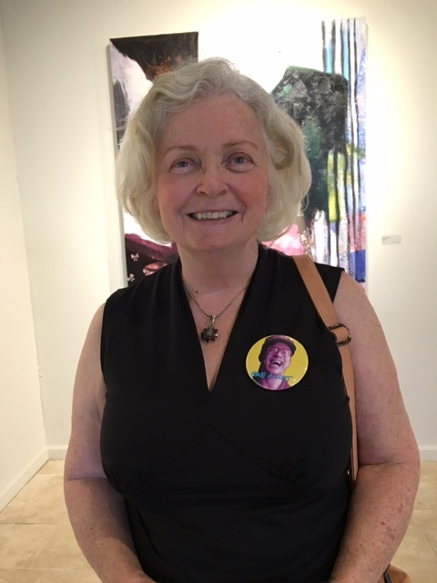 2017 FOG Exhibit: Gene's sister-in-law Patty Giblin wearing a GENE pin