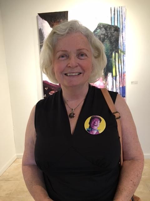 2017 FOG Exhibit: Gene's sister-in-law Patty Giblin wearing a GENE pin