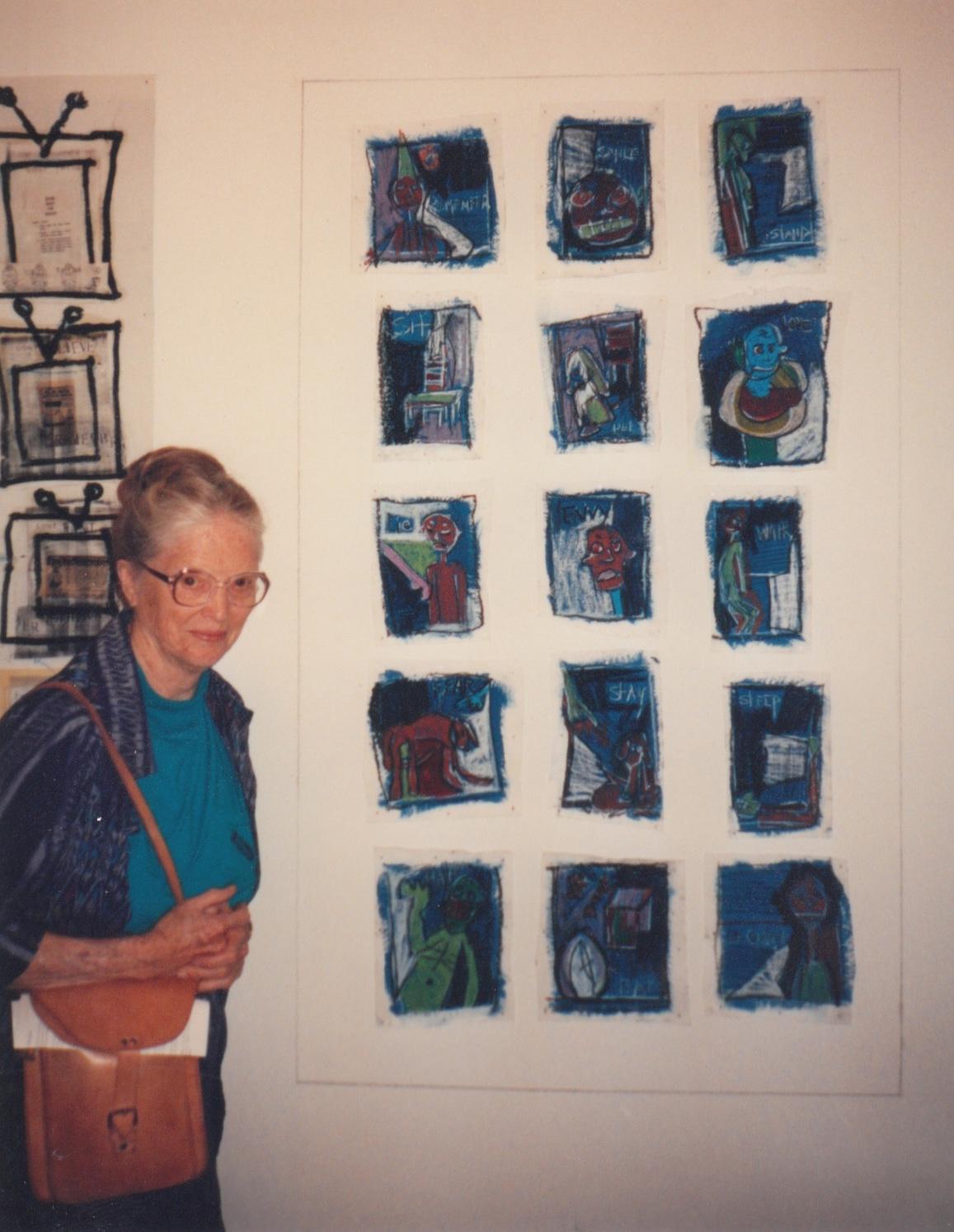 Gene's mother June Allcott with 1993 Allcott Scholar Wendy Given's Artwork
