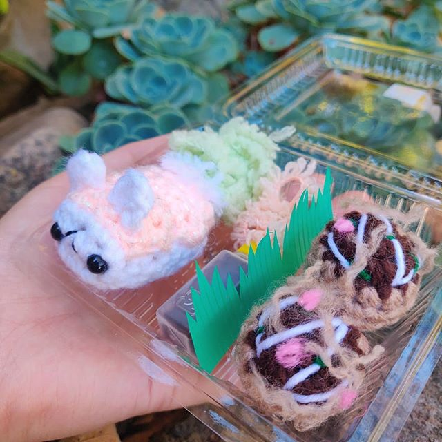 Yummy Bento 🍱! This one has Bunny Salmon Nigiri & Takoyaki 🥢. - - - #amigurumi #crochet #crochetersofinstagram #crocheteveryday #crochetaddict #crochetartist #crochetlover #anime #otaku #bento #bentobox #bentoboxlunch #japanesefood #takoyaki #sushi #food #foodie #handcrafted #handmade #maker #makersmovement #makersgonnamake #playfood #nursery #gift #yarncircus