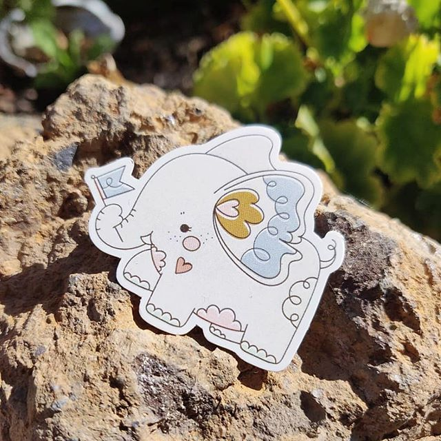 ☄️ NEW ☄️ Just received our first batch of stickers 💖. They will be available at @crunchyrollexpo & then on our website after 😗. P.s, they're waterproof, vinyl, and cute as hell 🎠 - - #art #artistsoninstagram #artistalley #stickers #sticker #vinylstickers #waterproof #flair #makerlife #elephant #makersmovement #makersgonnamake #handmade #yarncircus