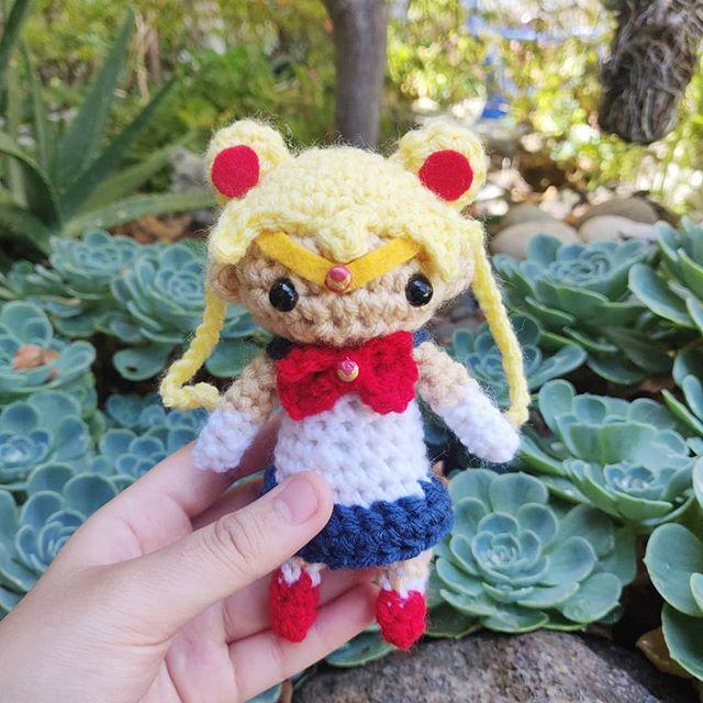 🌙 And in the name of the Moon, I will punish you! . We will be at @crunchyrollexpo this weekend! Please come see us 😘. - - - #amigurumi #crochet #crochetersofinstagram #makersmovement #makersgonnamake  #instaartist #fiberart #yarn #anime #otaku #fanart #kawaii #cute #sailormoon #sailormooncrystal #yarncircus