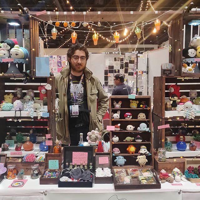 A bit tired but, come say hi to us at @crunchyrollexpo, Booth 736 👽. We'd love to see you 🛸! - -  #amigurumi #crochet #makersmovement #makersgonnamake #lifestyle #fiberartist #etsy #etsyseller #color #colorful #clothing #originaldesign #otaku #entrepreneur #crafts #yarn #knitwear #artistalley #lionbrandyarn #crochetersofinstagram #art #shoplocal #sanjose #bayarea #shopsmall #yarncircus