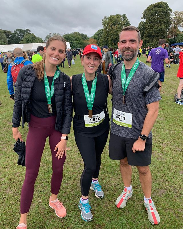 We all finished and the run was fabulous. Thanks for all of your support and to those who braved the rain to cheer us on I salute you and send you a huge hug. I needed your cheers! It made such a difference @readerschives @toriflynnjohnson @standaloneproductions big love from us. Now I am off for some beer and food!