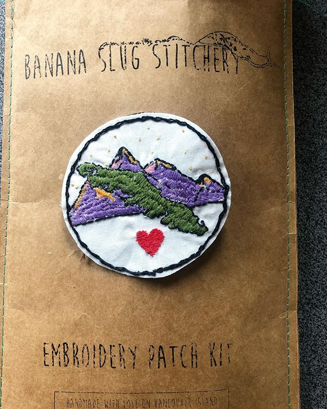 I bought this on the island when I was home for a visit. Once an island girl always an island girl. Thanks for making this cool kit @banana.slug.stitchery can't wait to get another on my next visit! #crafting#hommade#stitching#vancouverisland#patch#sewing#weekend#noplacelikehome