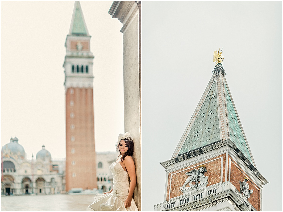 Bride Piazza San Marco St Marks Campanile Bell Tower Kate Marie Portraiture.jpg