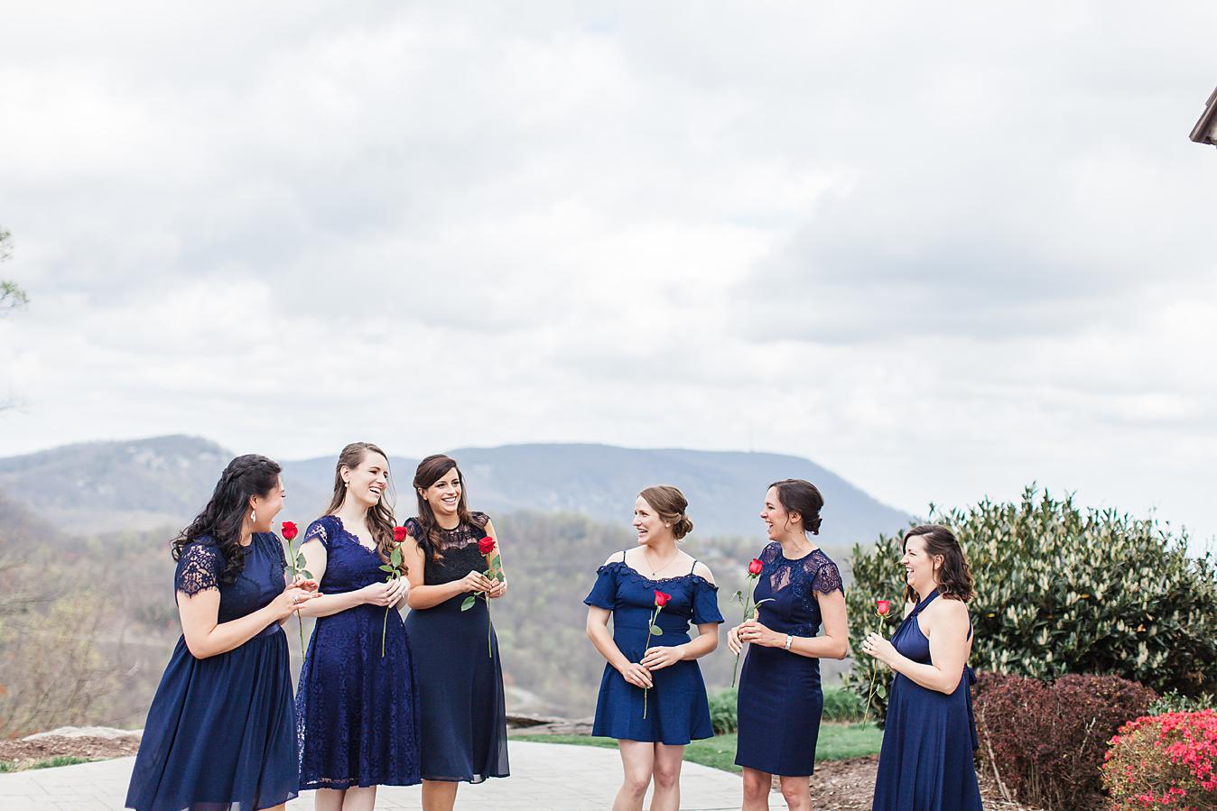 Dallas Wedding Photographer Glassy Mountain Chapel Greenville South Carolina scottish wedding bridesmaids outside kate marie portraiture.png