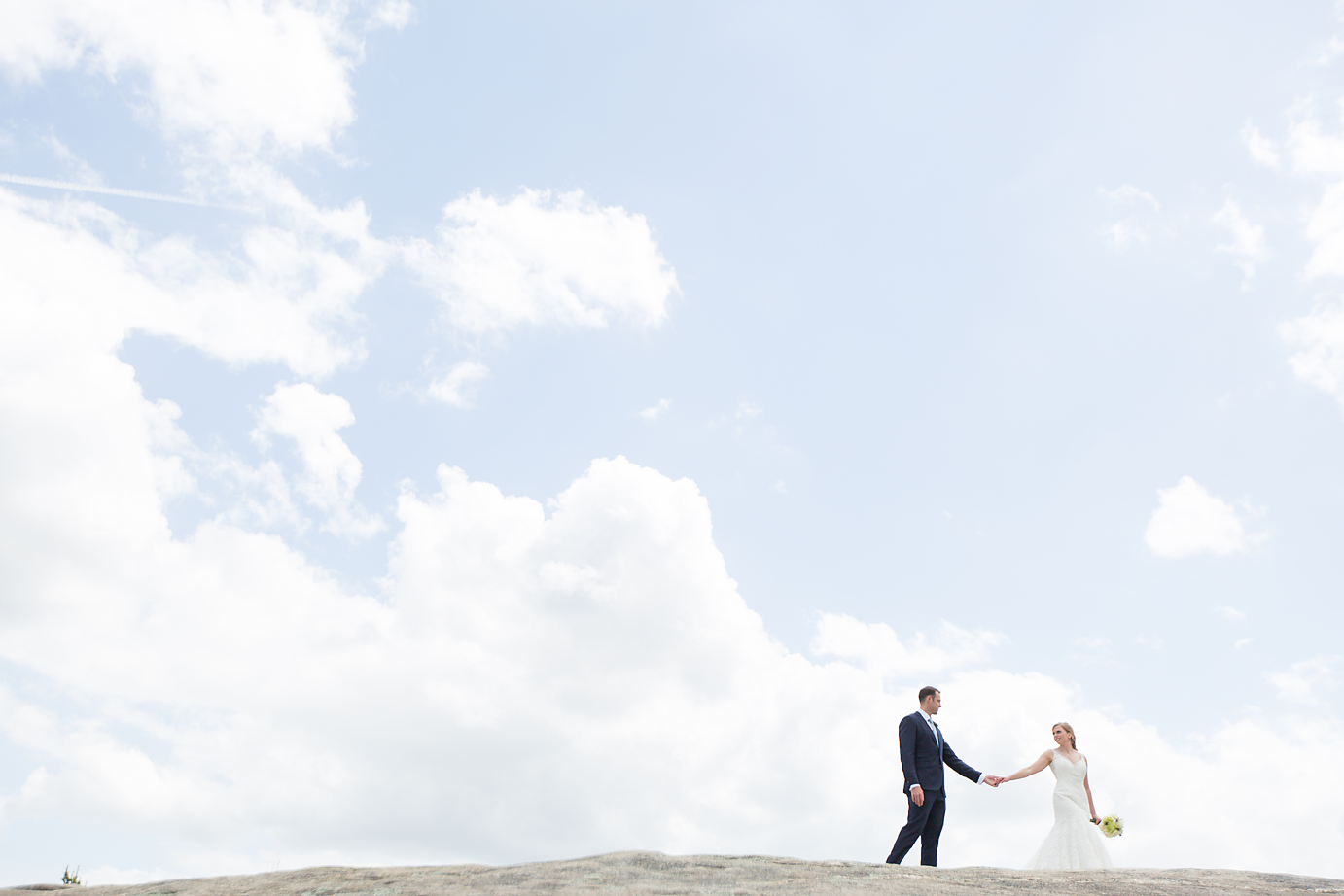 Dallas Wedding Photographer Glassy Mountain Chapel Greenville South Carolina scottish wedding bride and groom romantic walking in clouds kate marie portraiture.png