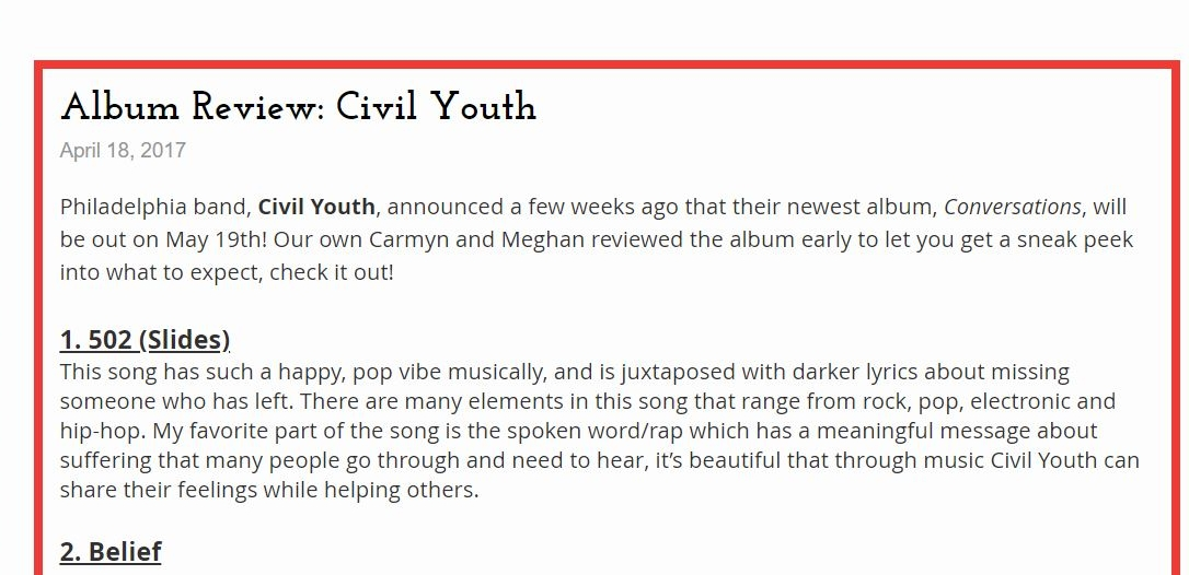 Civil Youth - Album Review. Wrote a review for songs 1-7