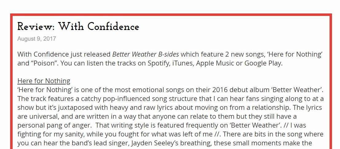 With Confidence - Song Review