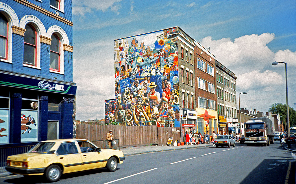 Dalston Lane -  Peace Mural painted in 1985