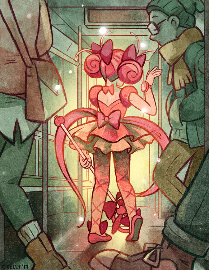 Editorial illustration about cosplay on the subway