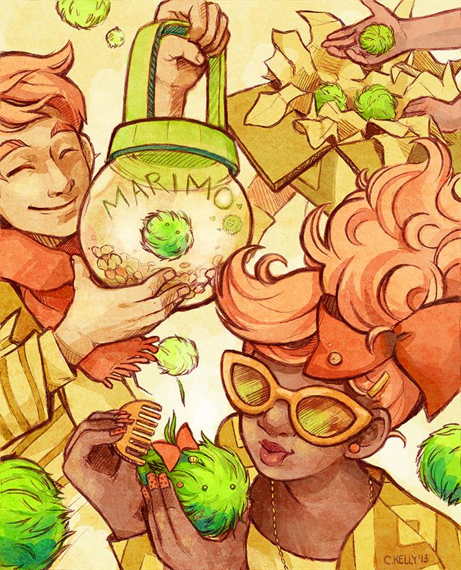 Editorial illustration on marimos