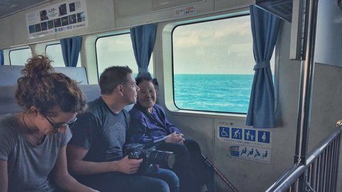 Varina, myself, and Tomi-san riding the ferry to Kohama