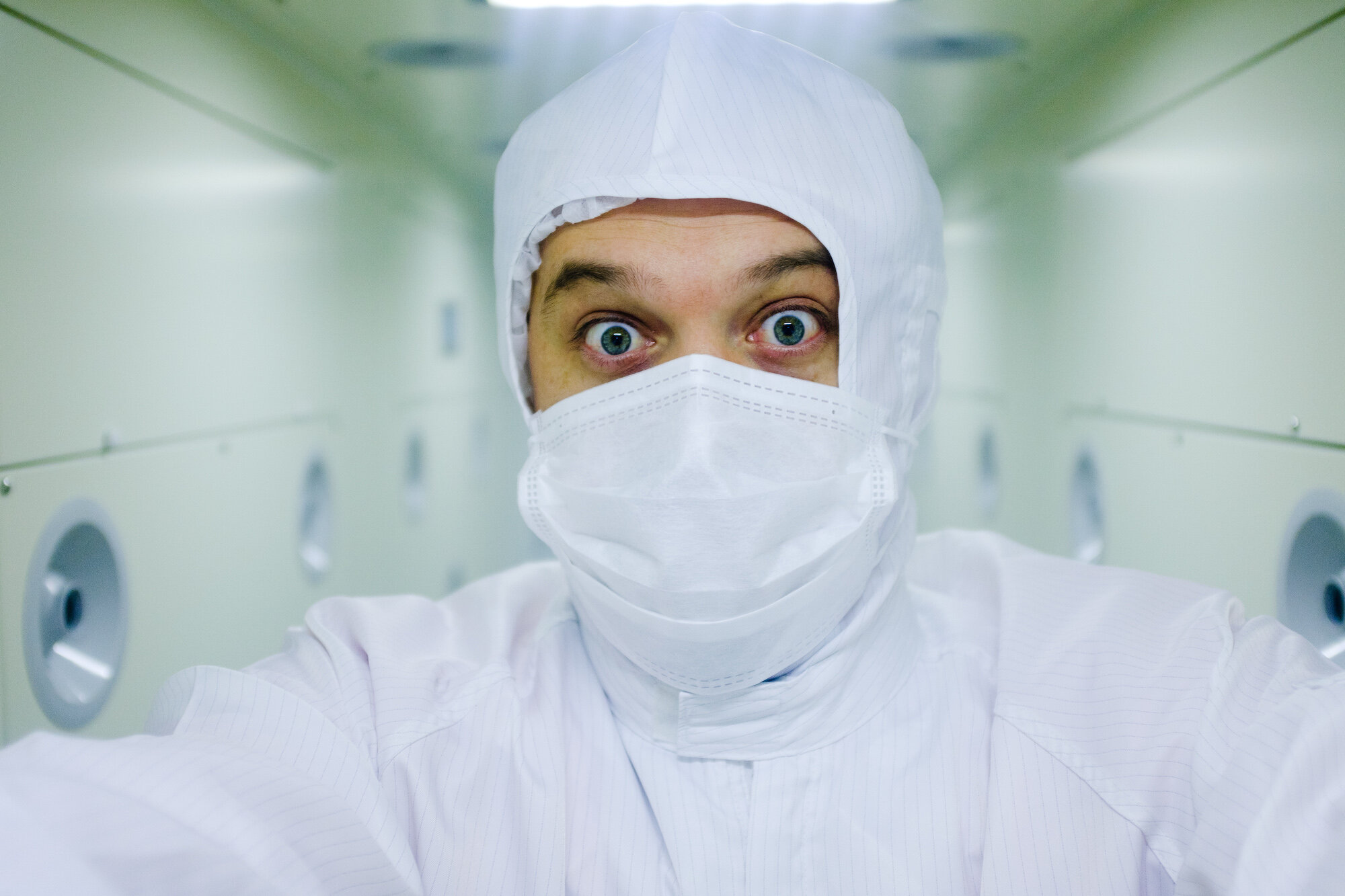 A selfie I took while going through the clean booth at FUJIFILM's factory in Japan.