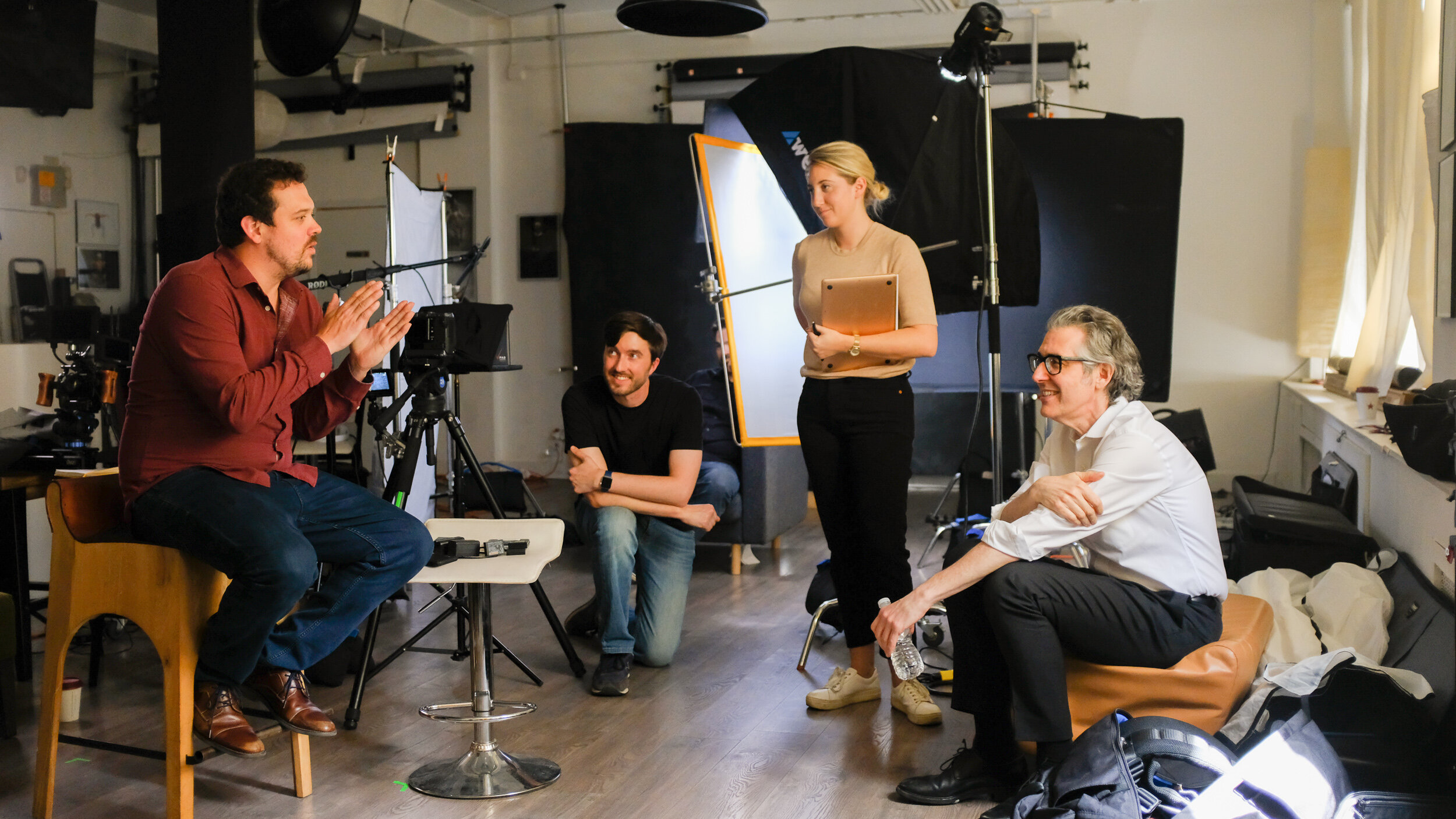 A BTS image of our interview with Ira Glass. You can see our setup to the back left of everybody talking.