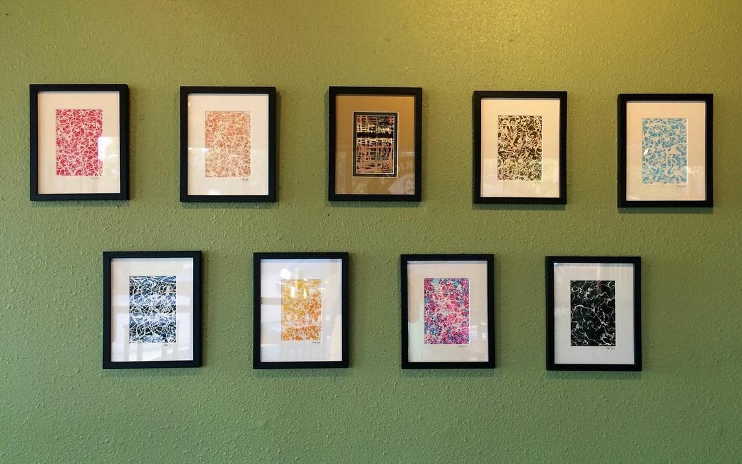 Mariah's art on display at a local coffee shop.