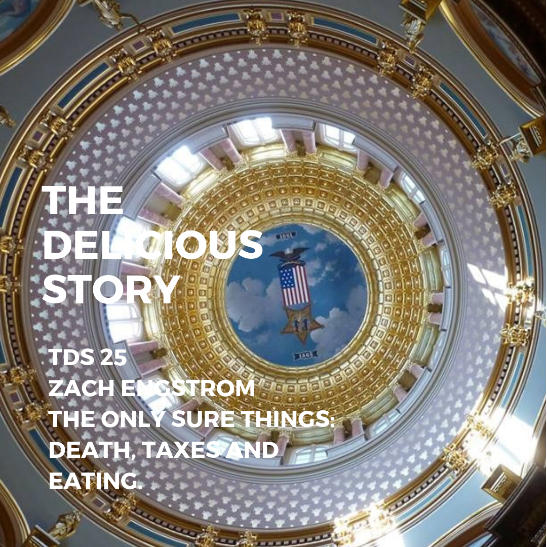 The image is a view of the ceiling in the rotunda of the State of Iowa Capitol.
