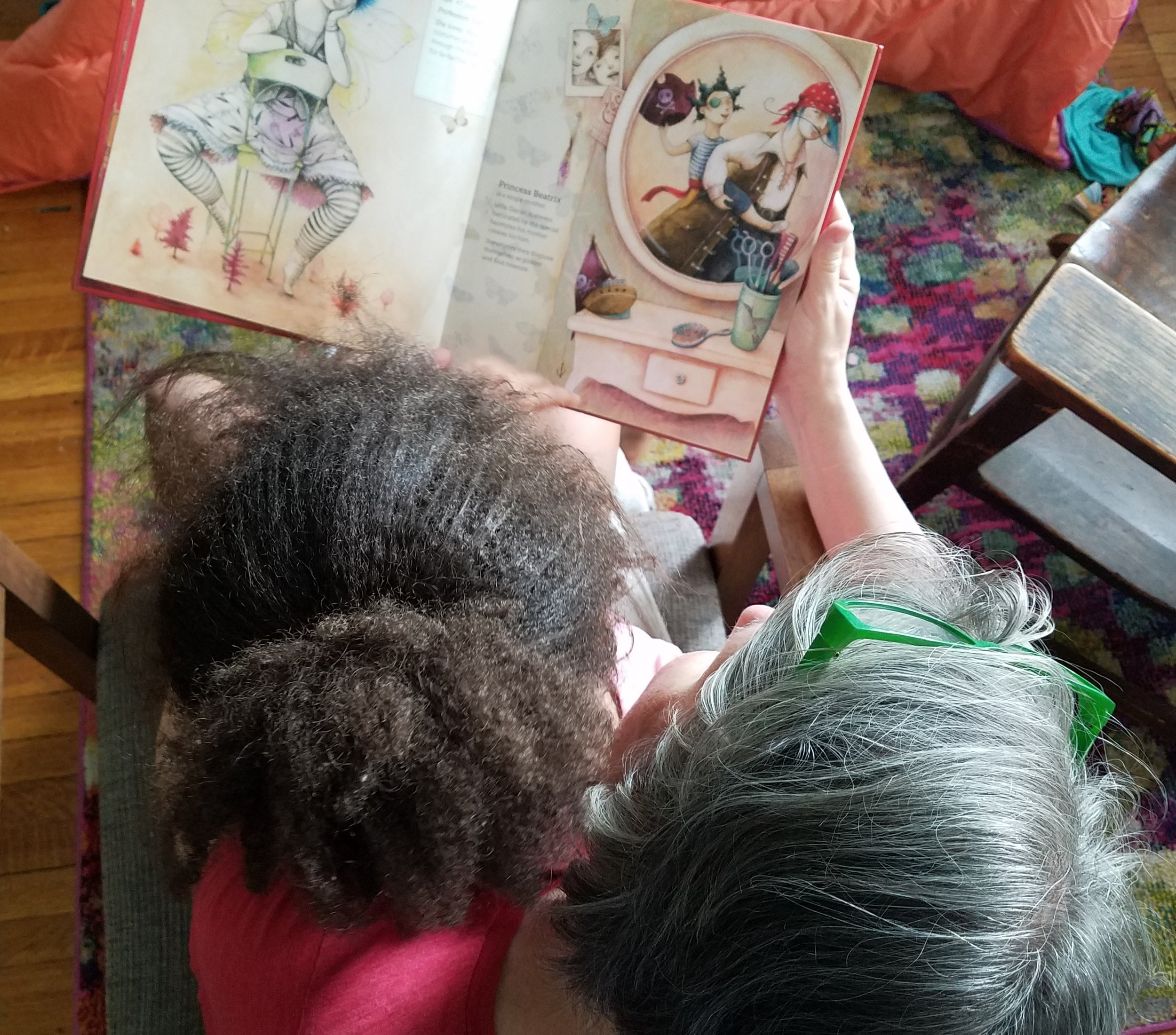 """Athena and Sherry reading """"The Brave Princesses."""""""