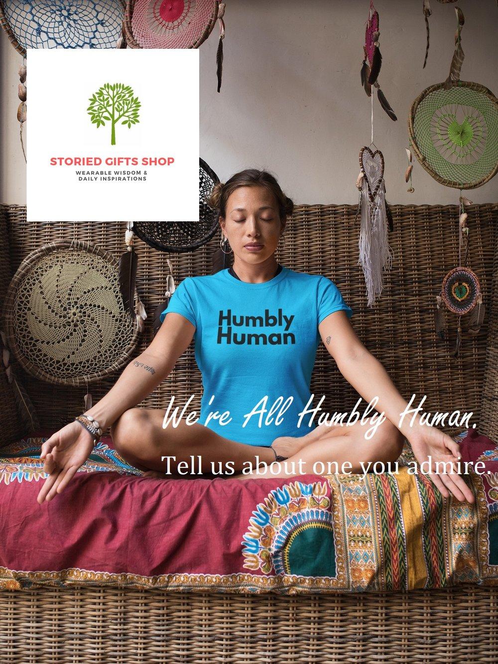 girl wearing humbly human tshirt while doing yoga