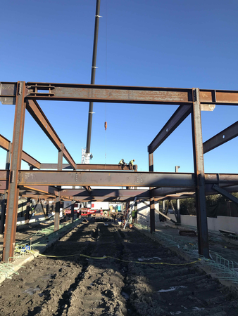 First phase of steel construction.