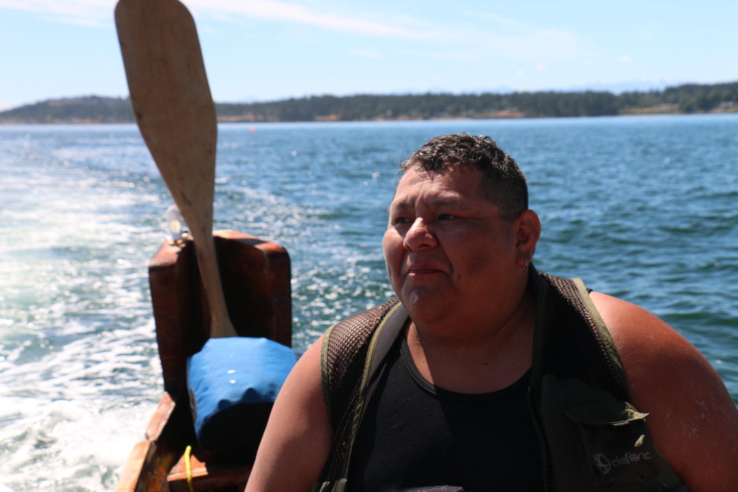 Joe Seymour, a skipper for the Squaxin Island canoe family (Julian Brave NoiseCat)
