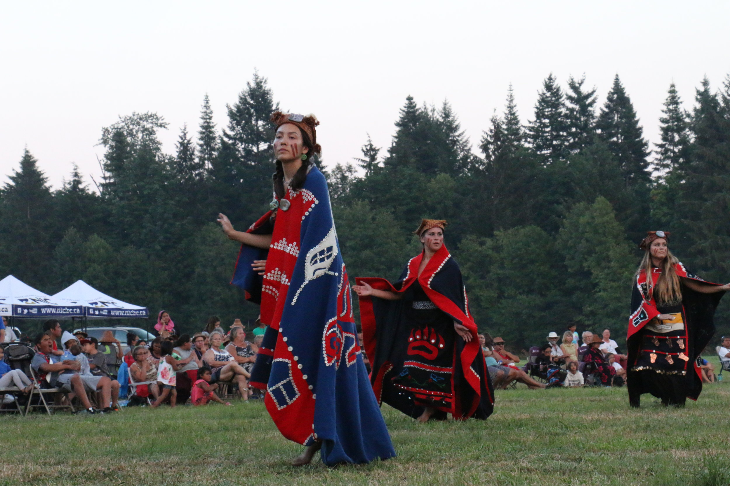 Dancers from K'omoks perform for guests on the grounds of the historic Puntledge Indian reserve. (Julian Brave NoiseCat )