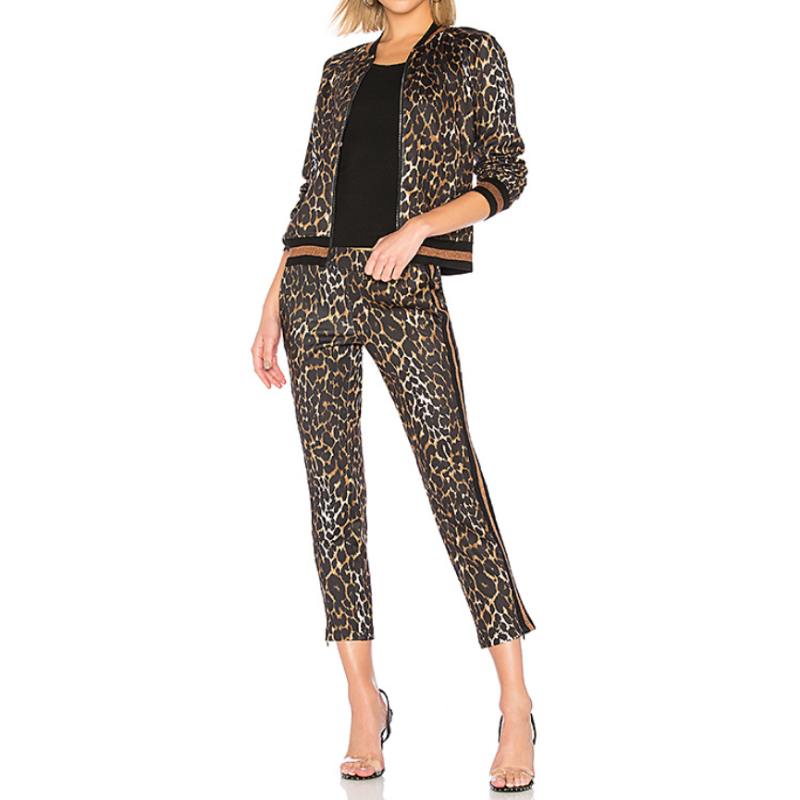 Pam & Gela Leopard Crop Track Pant with matching Track Jacket,
